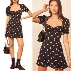 Reformation Drea Black Polka Dot Mini Dress 0